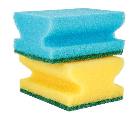 Color sponges for washing dishes isolated on white background