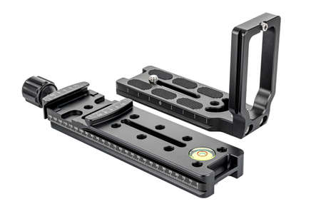 DSLR camera L-bracket with quick release nodal slide rail isolated on white background. Panoramic shooting equipment Banco de Imagens