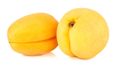 Two fresh and ripe apricots isolated on white background Banco de Imagens