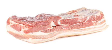 Fresh pork belly with a thin layer of bacon isolated on white background