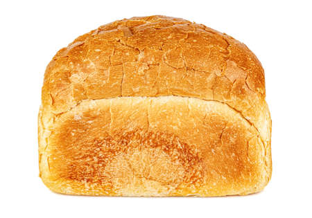 Side view of loaf of freshly baked bread in brick shape isolated on white background