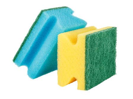 Sponges for dishes washing isolated on white background Banco de Imagens