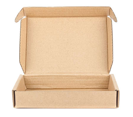 Front view of empty flat brown carton box with open lid isolated on white background