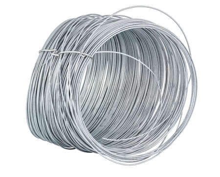 Thin steel galvanized wire in coil isolated on white background Banco de Imagens