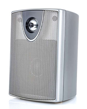 Silver computer speaker isolated on white background