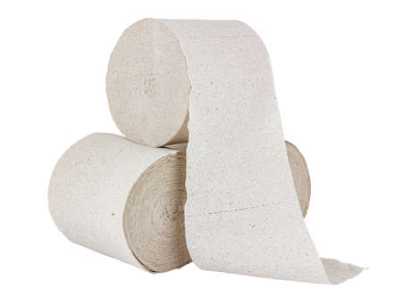 Three rolls of cheap gray toilet paper isolated on white background