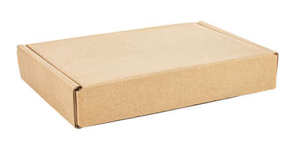 View of closed flat brown carton box isolated on white background