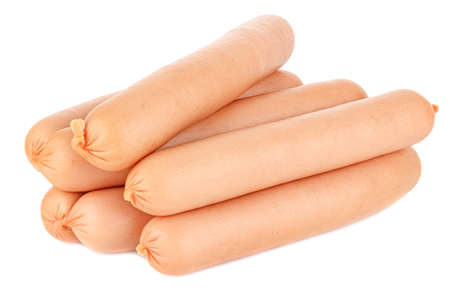 Lot of uncooked sausages in natural shell isolated on white background