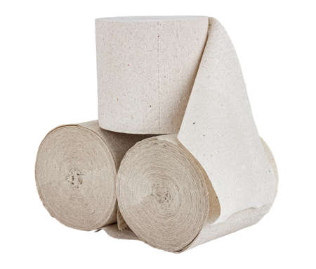Three rolls of gray toilet paper isolated on white background Banco de Imagens
