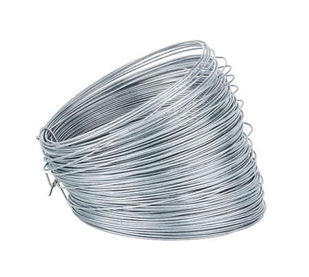 View of universal galvanized wire in coil isolated on white background Standard-Bild