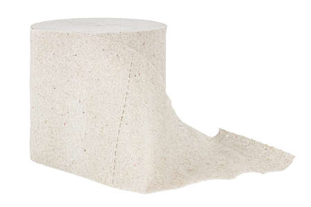 Roll of gray toilet paper isolated on white background