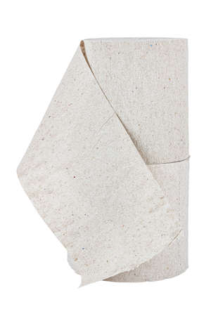 Vertical standing two rolls of cheap gray toilet paper isolated on white background