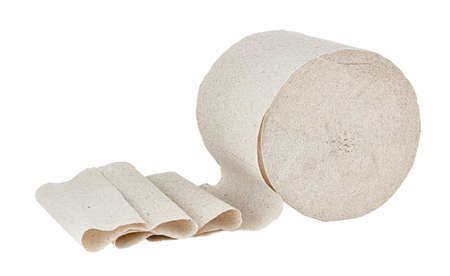 Gray toilet paper in roll isolated on white background