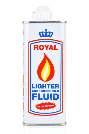 Moscow, Russia - July 22, 2020: ROYAL lighter and household fluid extra refined in a tin bottle isolated on white background Editorial