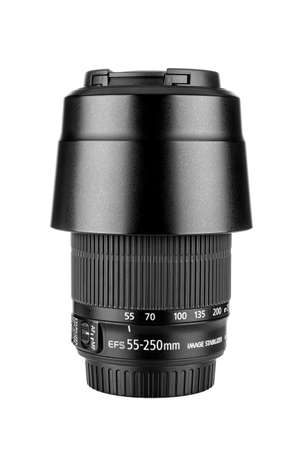 Moscow, Russia - July 18, 2020: Canon EF-S 55-250 mm lens with lens hood isolated on white background
