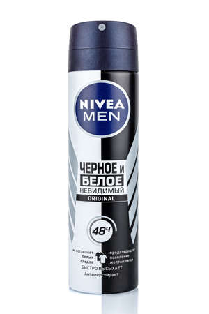 Moscow, Russia - July 22, 2020: NIVEA Men Black and White Original antiperspirant invisible antibacterial in a aerosol metal bottle isolated on white background Editorial
