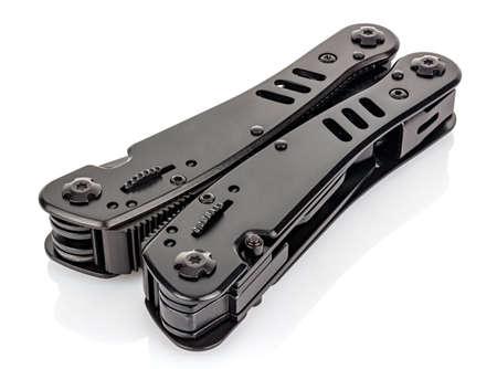 Lying closed EDC knife close-up isolated on white background