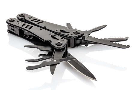 Foldable multi tool knife close-up isolated on white background