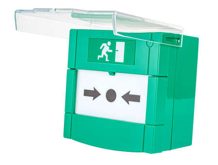 Green emergency door release button with open transparent lid isolated on white background