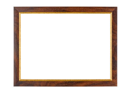 Empty dark brown wooden photo frame with golden border isolated on white background