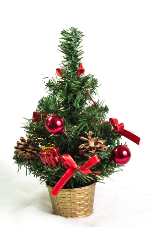 christmas tree decoration: Beautiful christmas tree isolated on white background - studio shot Stock Photo