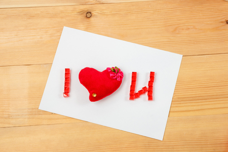 i love u: I love u signs romance valentine on wooden background Stock Photo