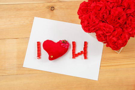 i love u: I love u signs handmaid flowers romance valentine on wooden background