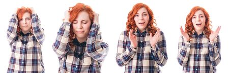 splitting headache: Woman with Head Ache Holding her Head. Isolated over White Background. Collage.