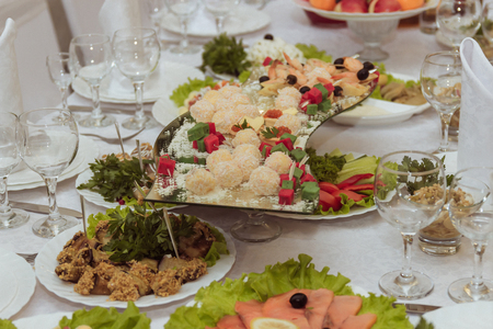 entertaining area: wedding table served. Selective focus. wedding day Stock Photo