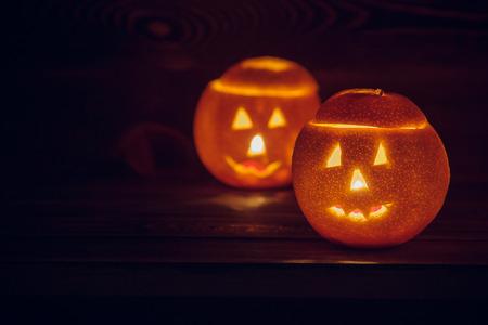 Halloween still life with orange. Halloween concept
