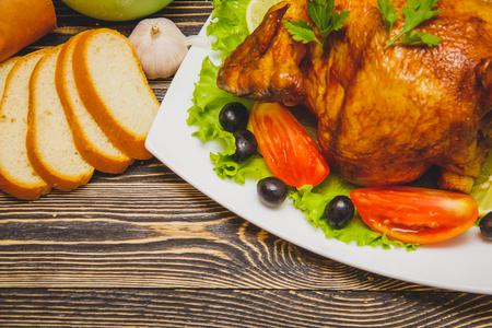 Homemade Roasted Thanksgiving Day Turkey on Wooden Table with Copy Space Stock Photo