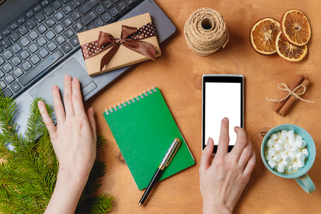 laptop and phone with empty screen for christmas seasonal advertising Stock Photo