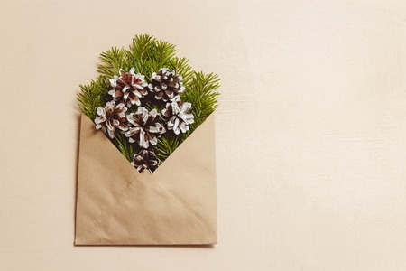 Top view green fir tree branches and cones in brown craft envelope on brown color wood background