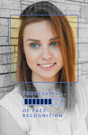 Biometric verification. young woman with status bar. The concept of a new technology of face recognition.