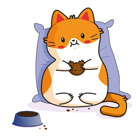 Cute Cat: eating holding cookie. kitty, kitten characters in vector, cartoon illustrations. As sticker, emoji, emoticon