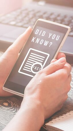 Interesting fact concept. Text DID YOU KNOW on smartphone screen. Stories cover.