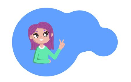 Girl emotions. A young girl playfully shows a gesture of peace. Flat style. Cartoon. Copyspace. Illustration