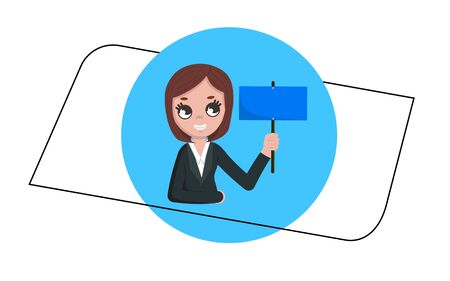 Business woman holding blank sign board. flat vector illustration 일러스트
