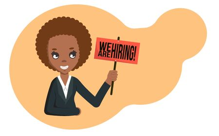 African american businesswoman holding board with we are hiring text. Flat illustration with copyspace