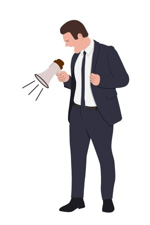 Angry Boss is shouting via megaphone isolated on white background. Vector flat cartoon illustration