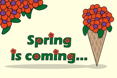 Spring is coming Lettering with bouquet of flowers in horn. Flat vector Illustration