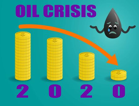 Sad Oil Drop Character snd Stack of Gold Coins, Banner of Oil Crisis Concept.