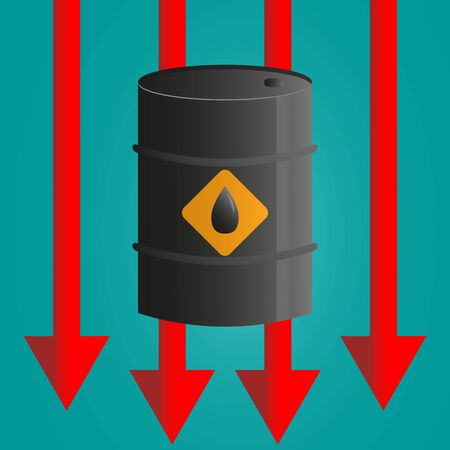 Oil Barrels And Red Arrow Down, Price Fall Concept Background. Ilustrace