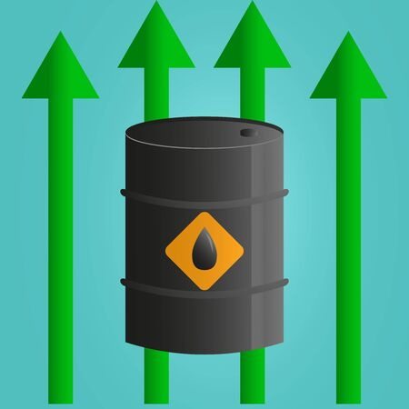 World oil price increase concept. petroleum tank with green arrow vector illustration.