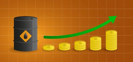 oil price growth concept. petroleum tank with green arrow and coins. vector illustration.