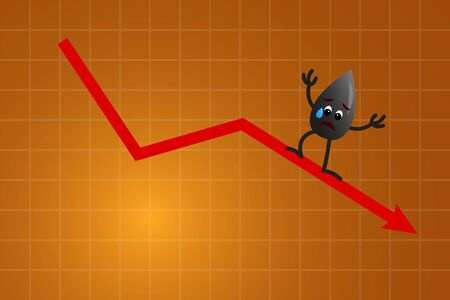 Crying Oil Drop Character against Down Red Arrow, Price Fall Concept On Orange Background.