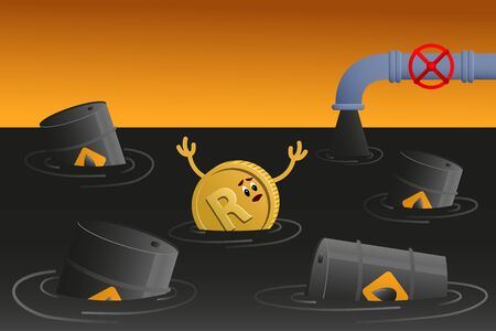 rand sinks in petroleum. Coin with rand sign and Barrel of oil in spilled oil. Banner of Oil Crisis Concept.
