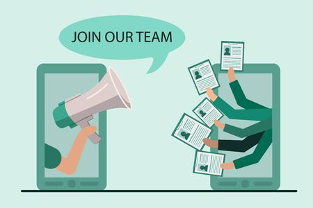 We are hiring concept. Hand with megaphone announces vacancy and hands with cv from phone screen. vector illustration