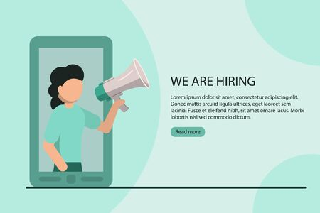 We are hiring concept poster. Woman with megaphone announces vacancy from mobile screen. Stock flat vector illustration