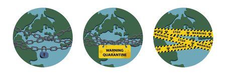 Virus lockdown barrier over planet. Pandemic. Biohazard warning concept. Stock vector illustration in flat design.